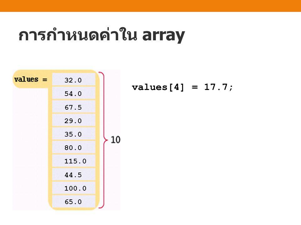 การกำหนดค่าใน array values[4] = 17.7; 32.0 54.0 67.5 29.0 35.0 80.0